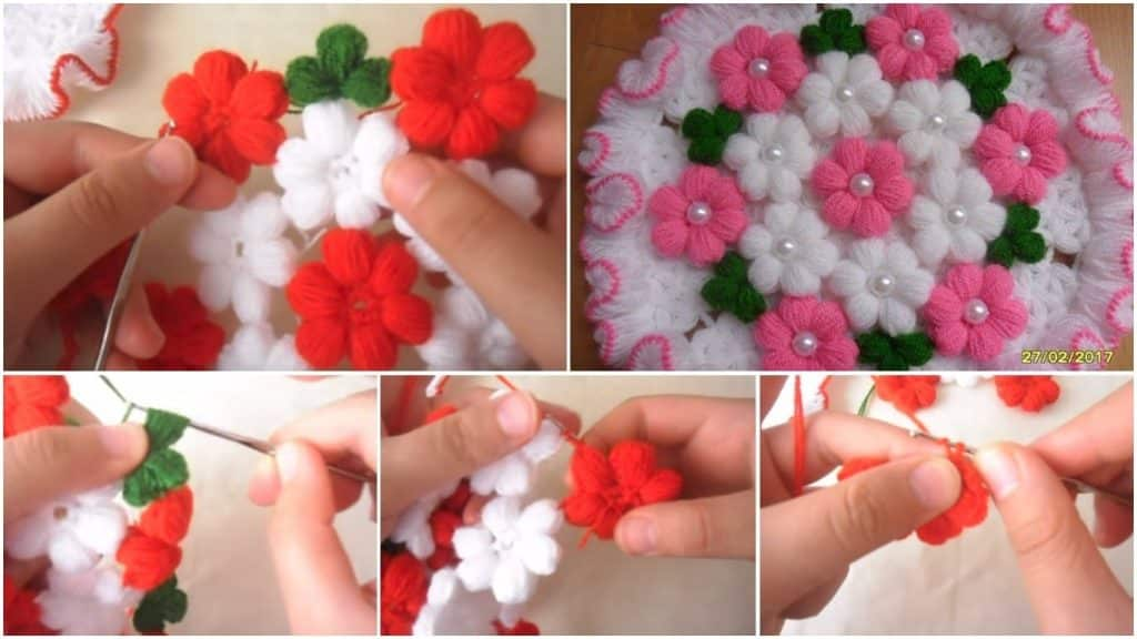 How to make woolen puff flower