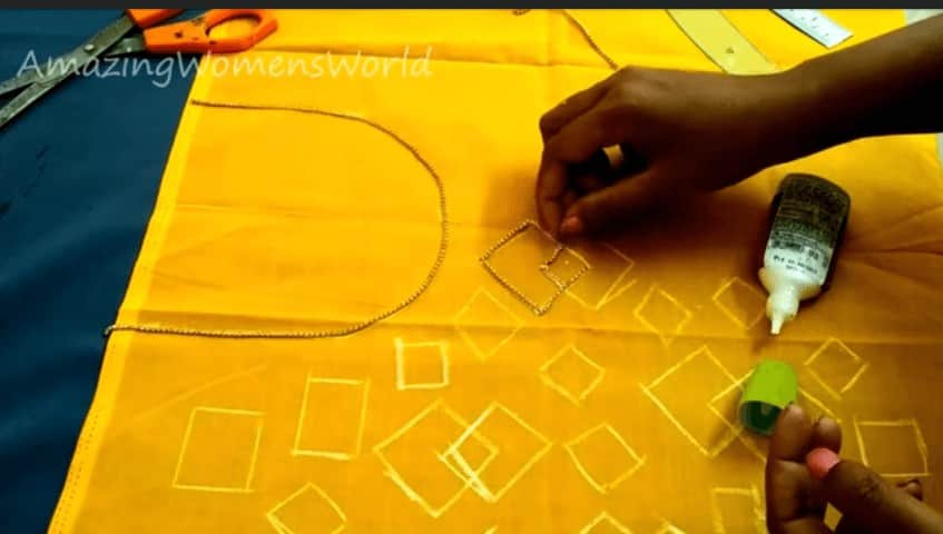 Hand ebroidery stone work designing on churidar
