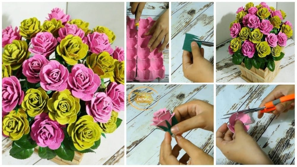 Beautiful roses from upcycled egg carton box