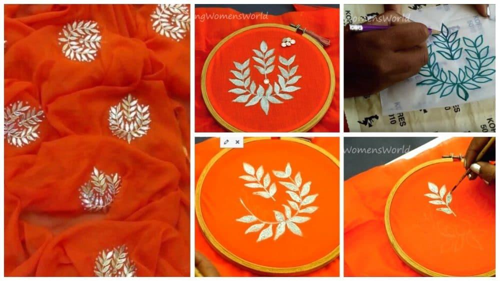 Silver painting designer saree making at home