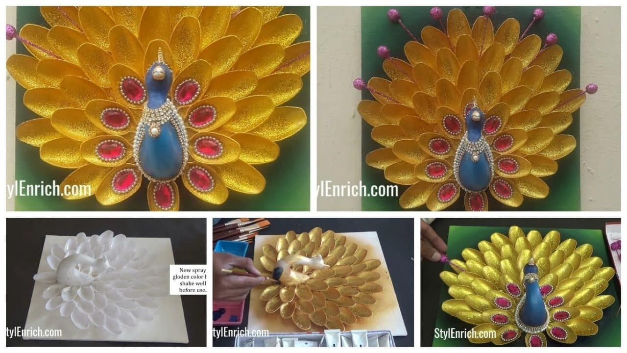 How to make creative peacock using plastic spoons