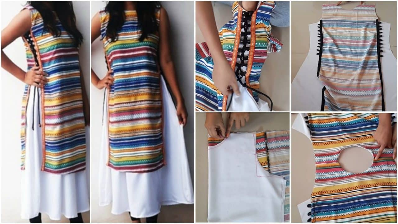 Designer double layer kurti cutting and stitching full tutorial