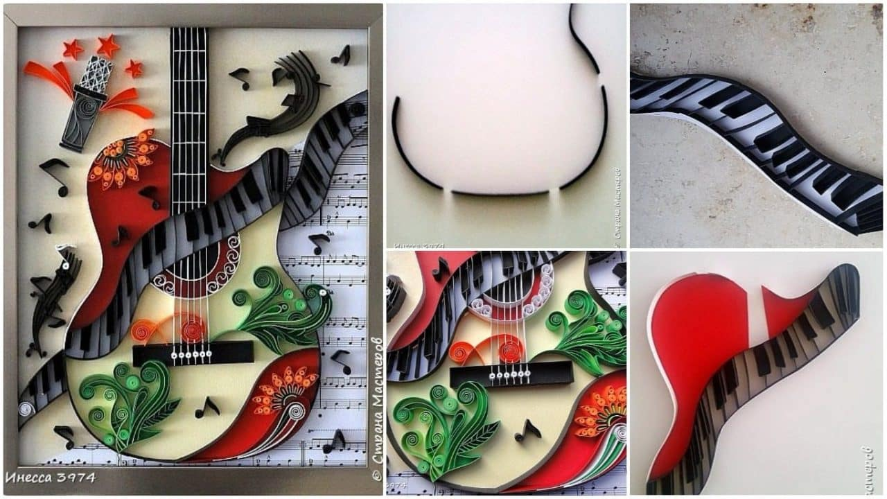How to make quilling guitar