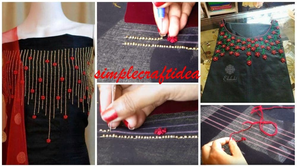 Beads french knots aari designing for Kurti, Kameez