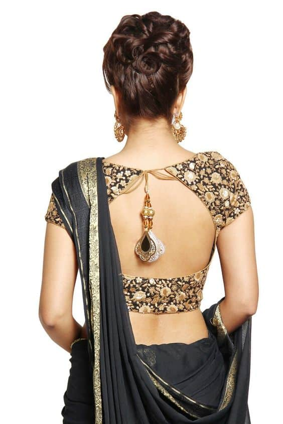 Saree Blouse Neck Embroidery Design