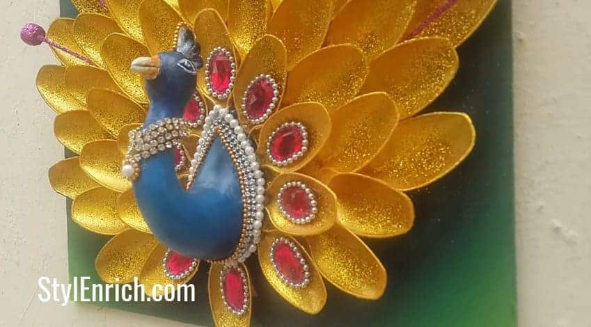 How To Make Creative Peacock Using Plastic Spoons Simple Craft Ideas