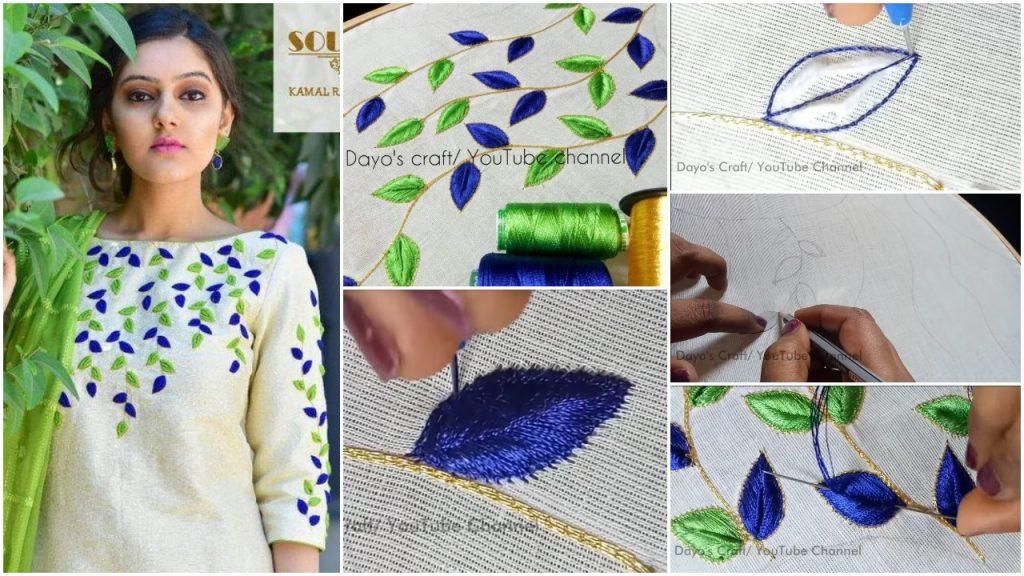 Aari work leaf filling design on kurti