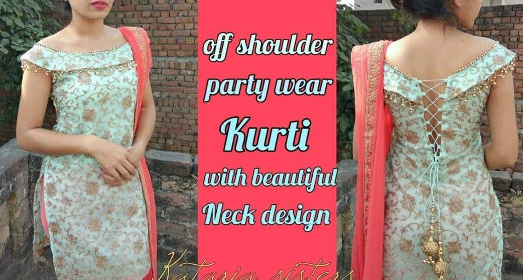 Stylish off shoulder kurti