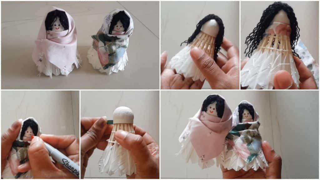 How to make shuttlecock doll