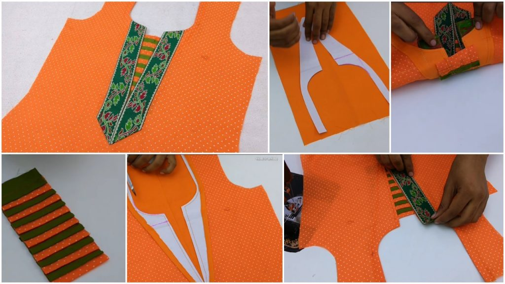 Latest front neck design with embroidery lace cutting and stitching