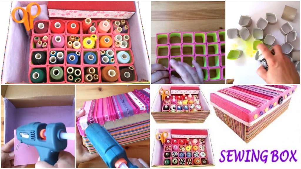 How to make a thread organiser from shoebox