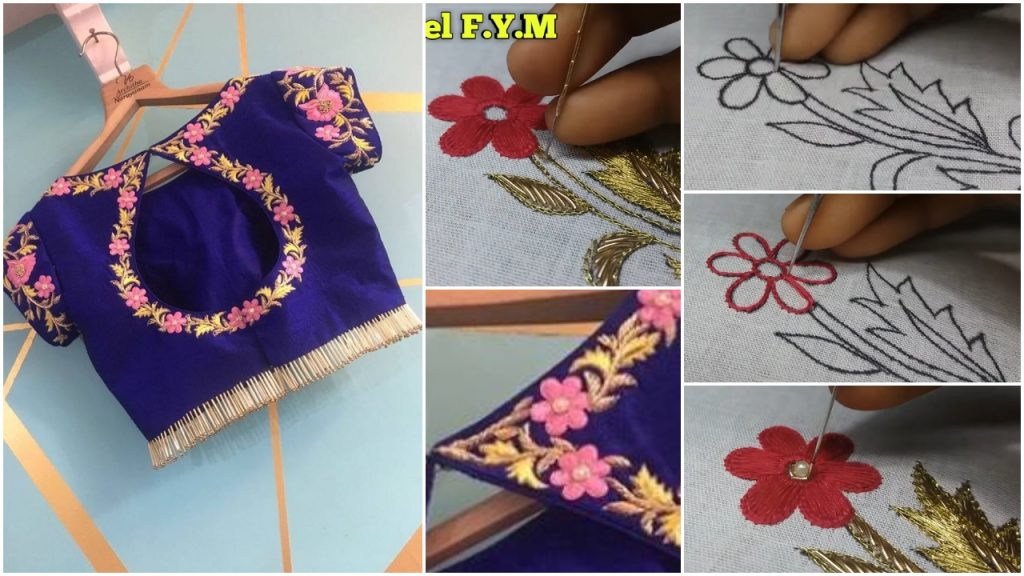 Pretty blouse design tutorial of aari work