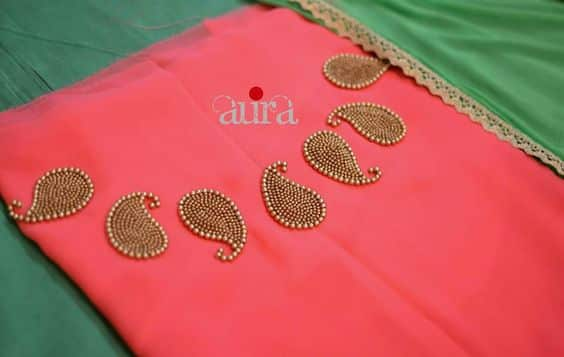 hand embroidery mango beads boat neck for kurtis simple