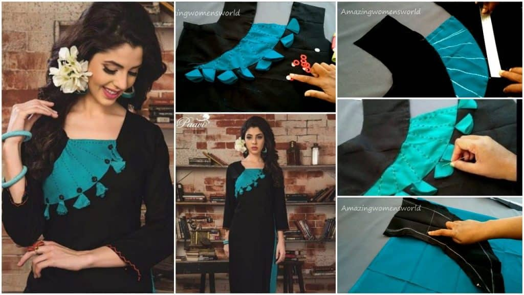 Designing with fabric tassels on kurti