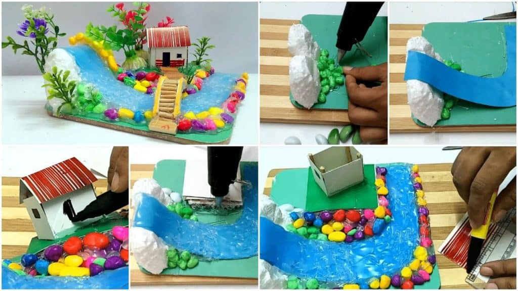 Hot Glue Waterfall Mini House Building Simple Craft Ideas