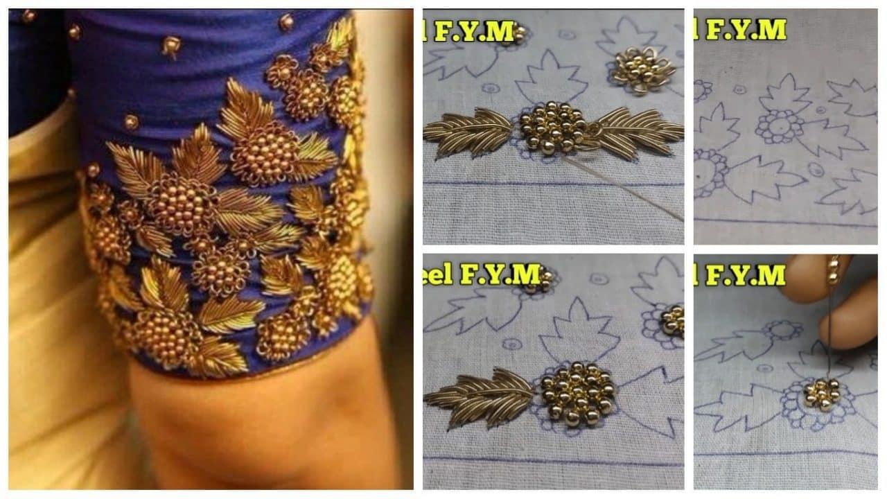 How to make zardosi blouse border