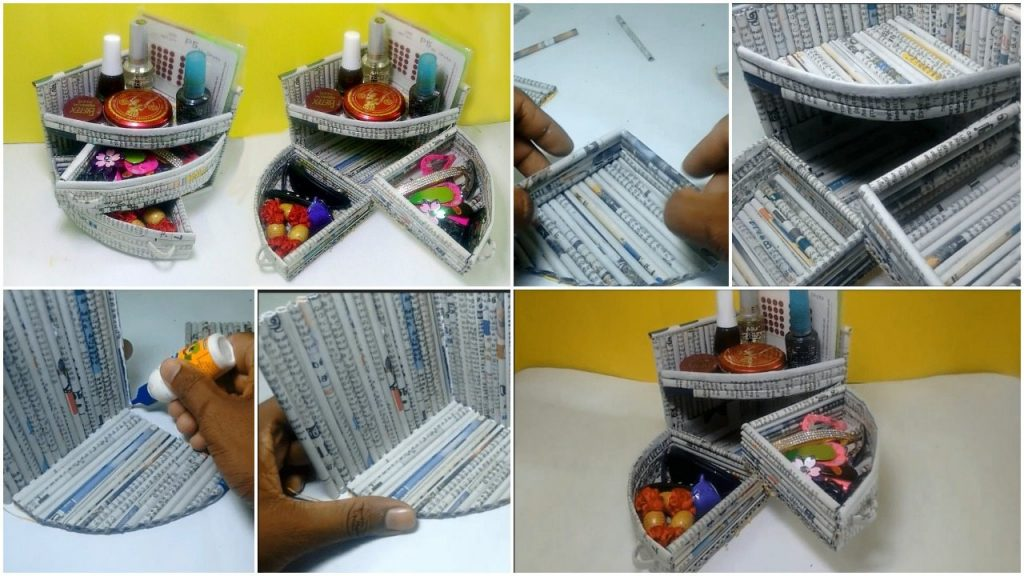 How to make a mini dressing table organizer using newspaper
