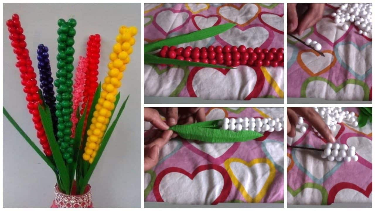 How to make flower from thermocol ball