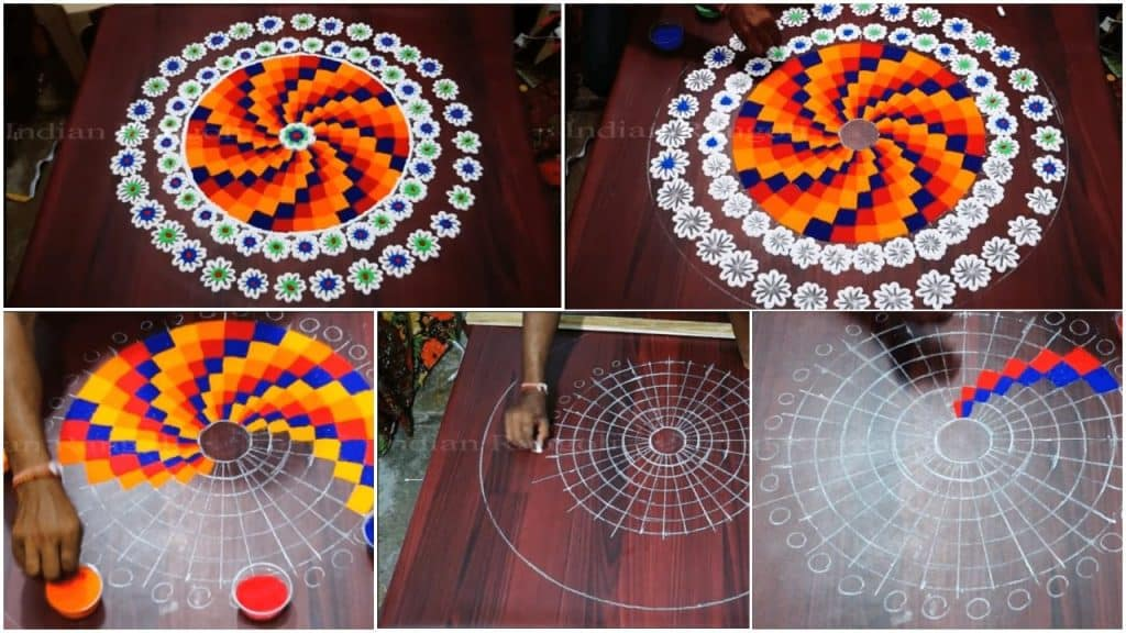Easy rangoli checks design simple steps