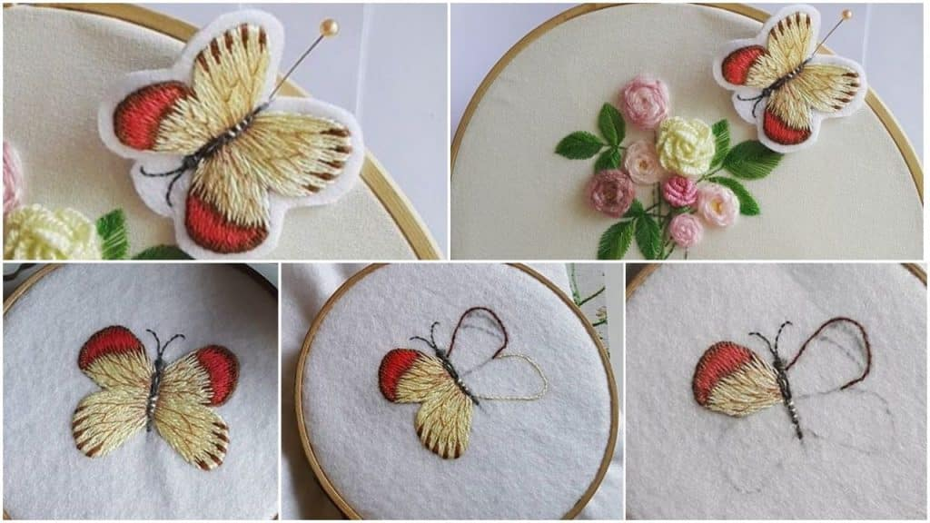 Hand Embroidery Butterfly Stitching