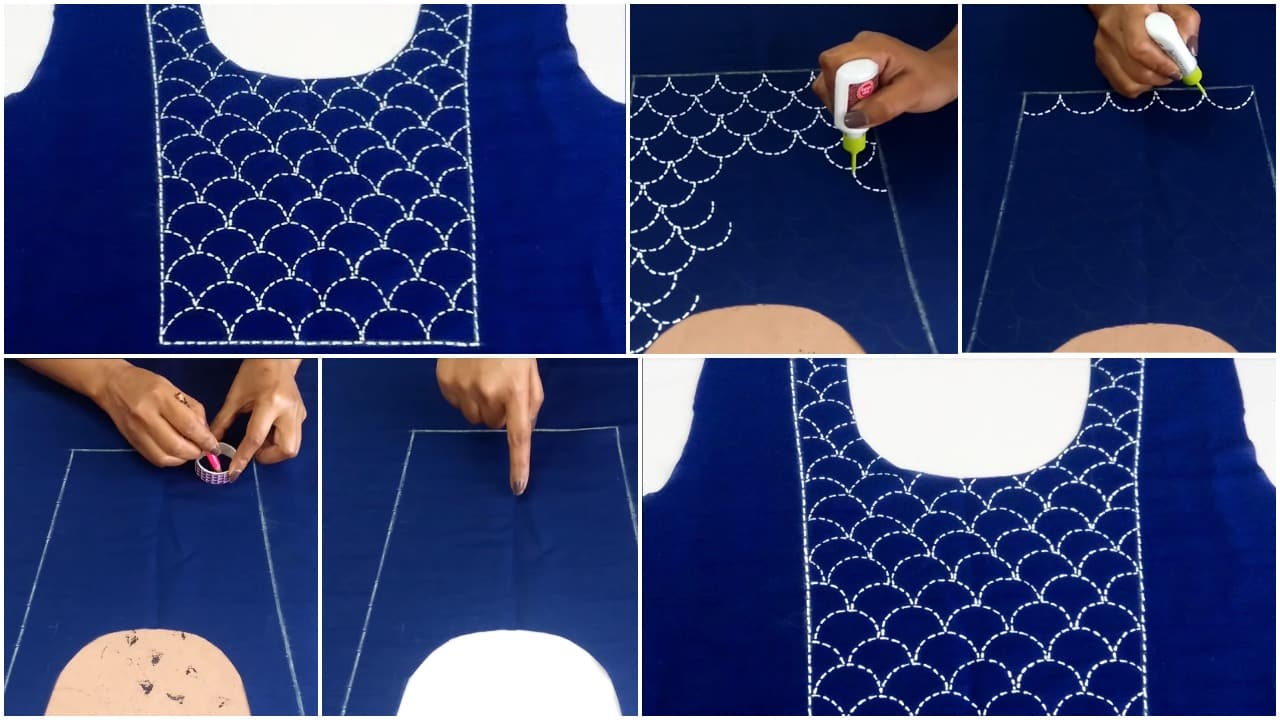 Running stitch embroidery on kurti yoke using 3D cone outliners