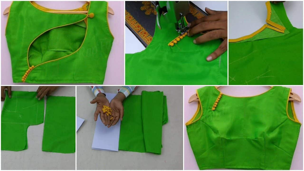 Latest blouse back and front design cutting and stitching