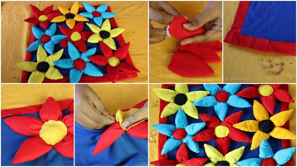 How to make floor mat with flowers design using waste clothes