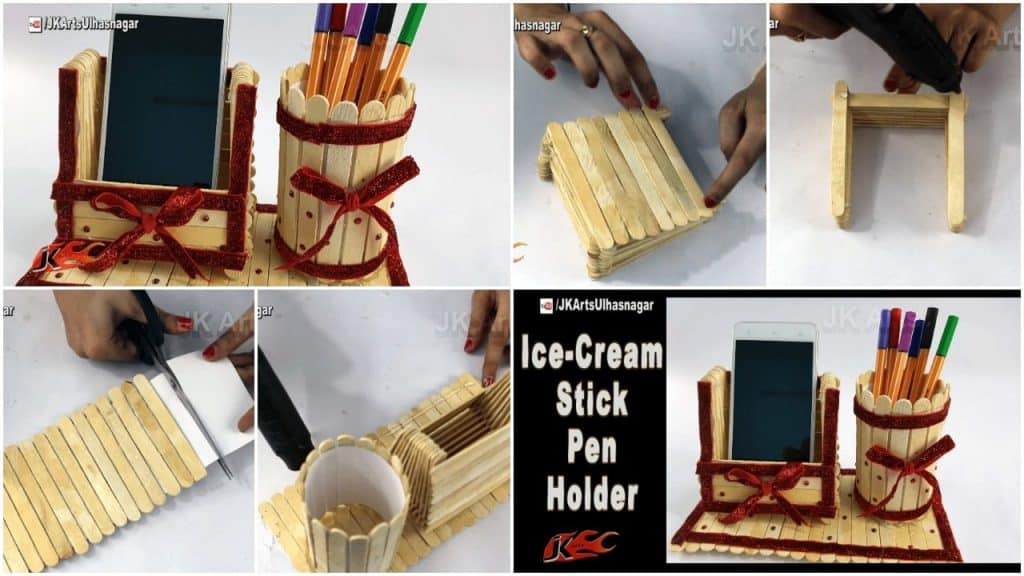 Pen stand and mobile phone holder with ice-cream sticks