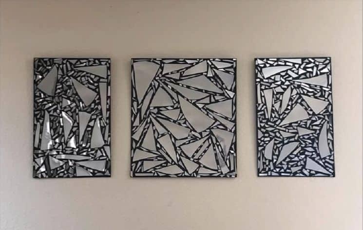 How to make broken mirror wall art simple craft ideas for Broken mirror craft ideas