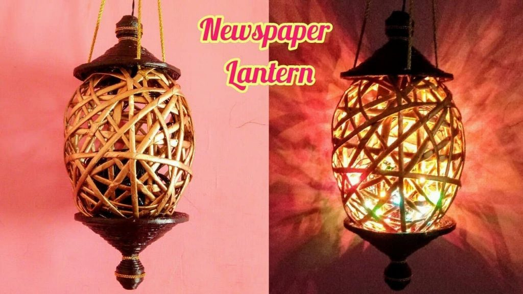 How To Make Newspaper Lantern Diwali Home Decor