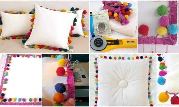 How to make tufted multi-colour pom pillow