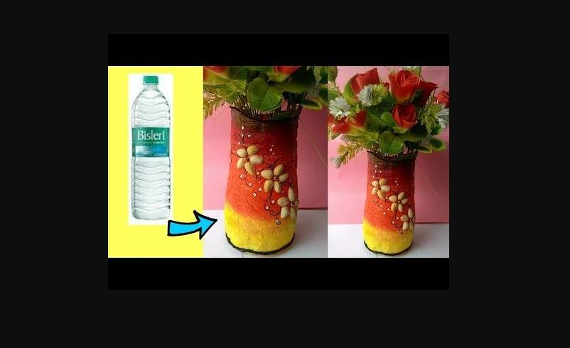 Waste plastic bottle flower Vase - Simple Craft Ideas on windchimes from bottles, glasses from bottles, lamps from bottles, garden art from bottles, bracelets from bottles, bird feeders from bottles,