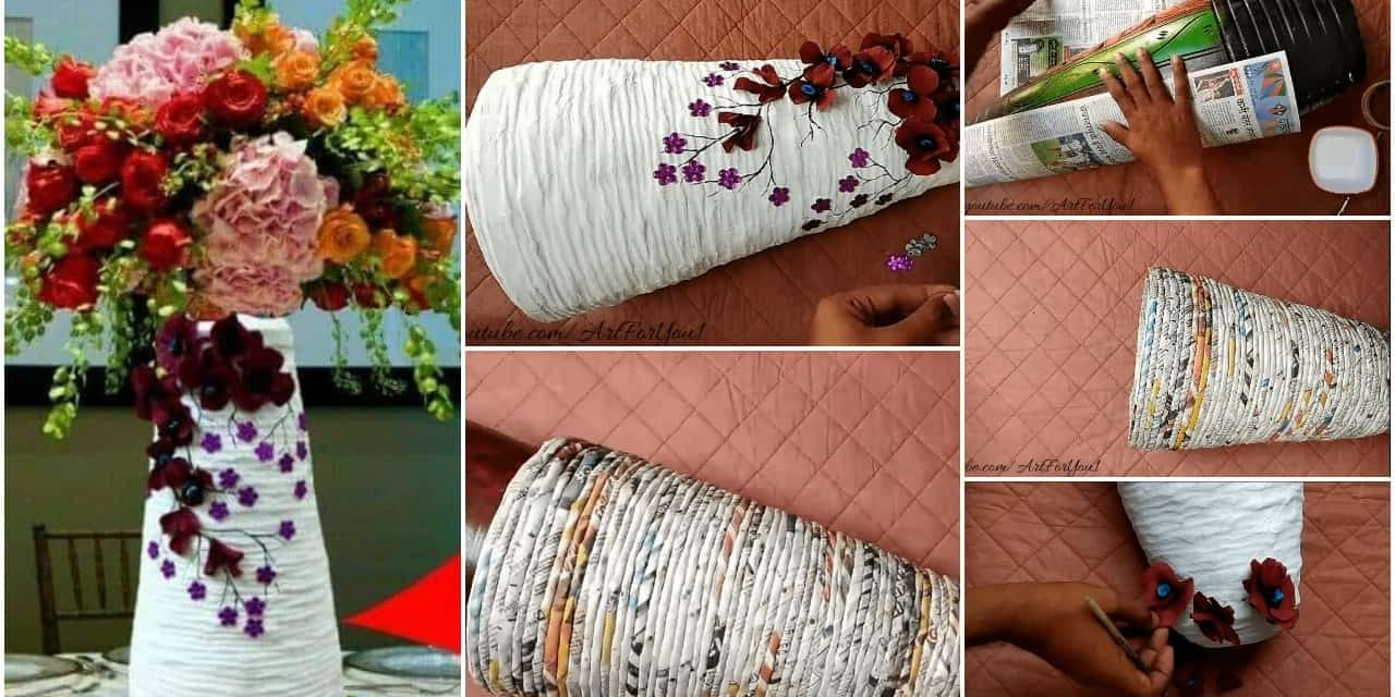 How to make flower vase with newspaper