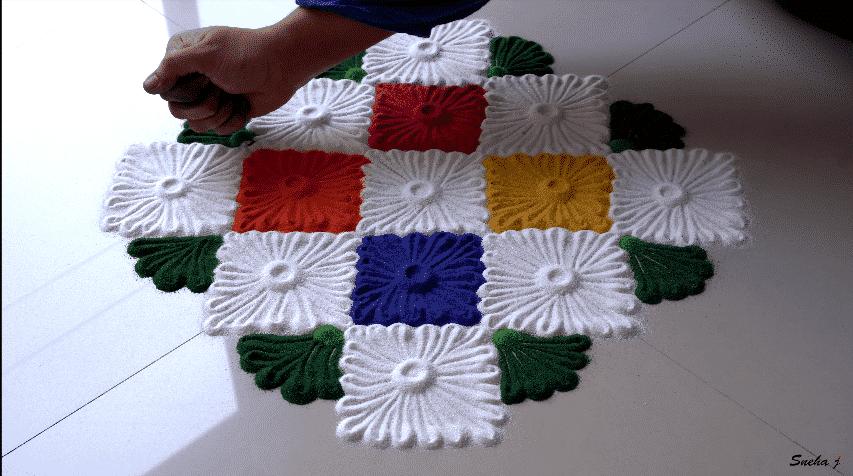 multicolored rangoli