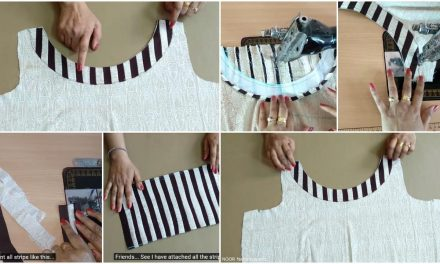 How to sew boat neck design with stripes