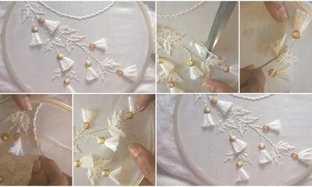 How to do neckline embroidery white work with tassel