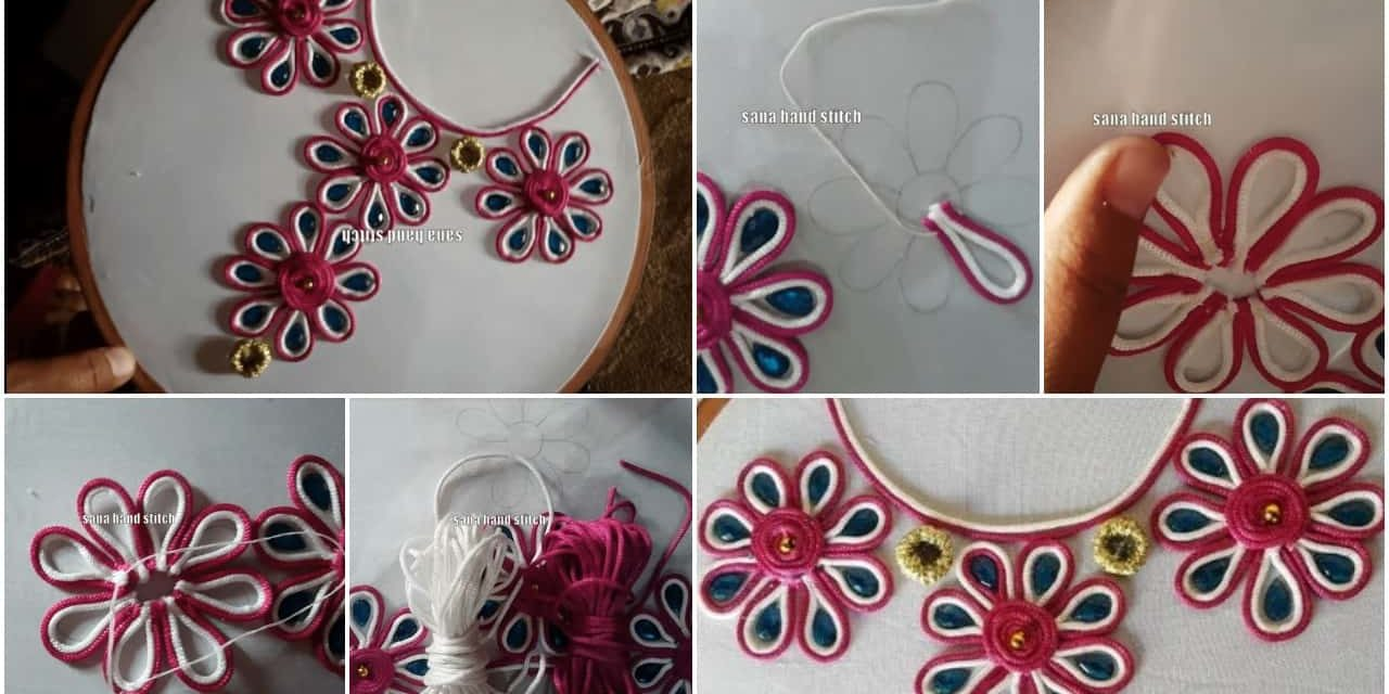 new neck dori hand stitch embroidery designs simple craft ideas