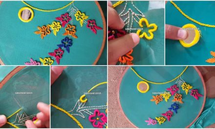 Hand embroidery Brazilian neck design hand work with mirror style stitching