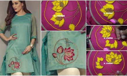 Beautiful hand embroidery design for kurti