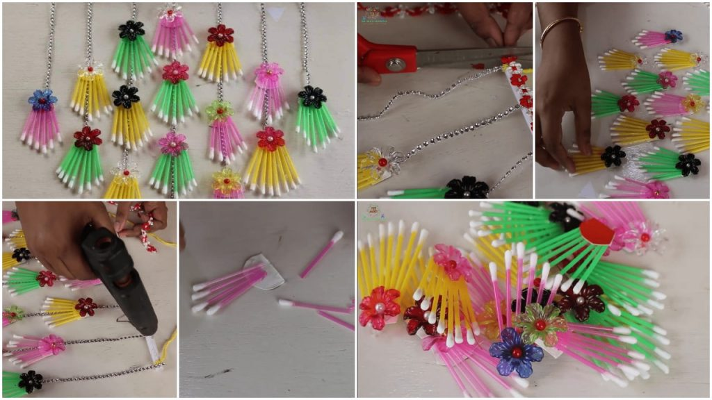How to make wall hanging using cotton buds