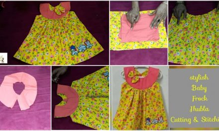 Stylish baby cotton Jhabla frock cutting and stitching