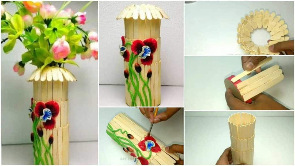 How to make flowerpot from popsicle sticks