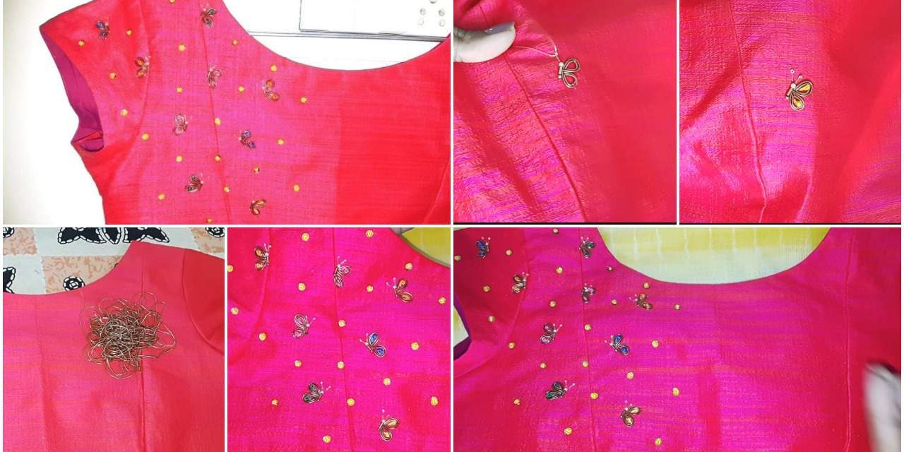 Simple and easy hand embroidery butterfly design on boatneck