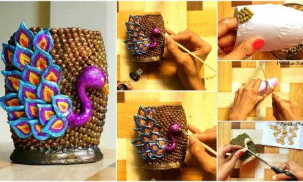How to make peacock design vase