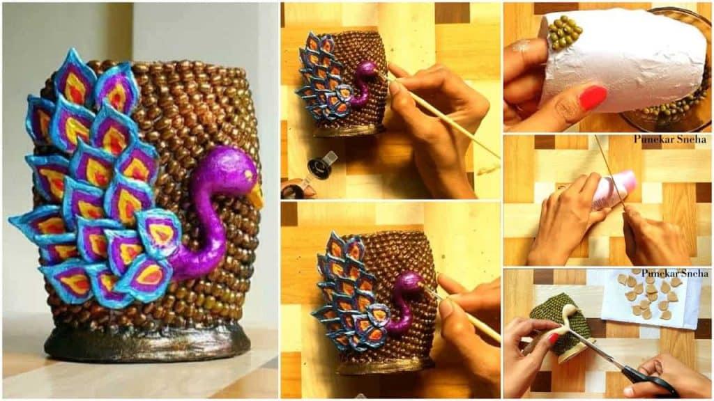 peacock design vase