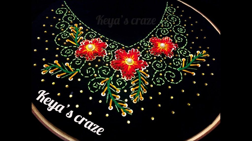 Neckline hand embroidery with karchupi work