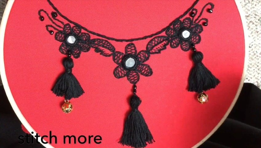 How To Make Neck Embroidery Design With Tassels Simple Craft Ideas