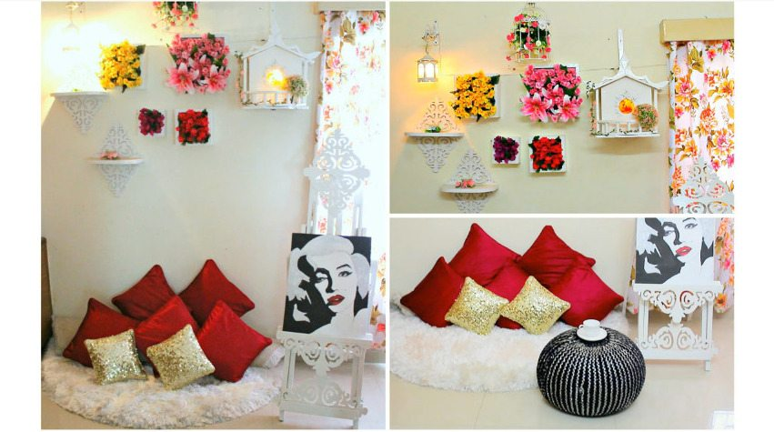 Floral wall decor with floor sitting area