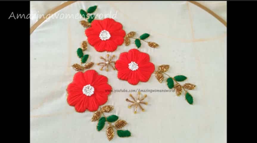 Satin stitch flower embroidery for boat neck blouse