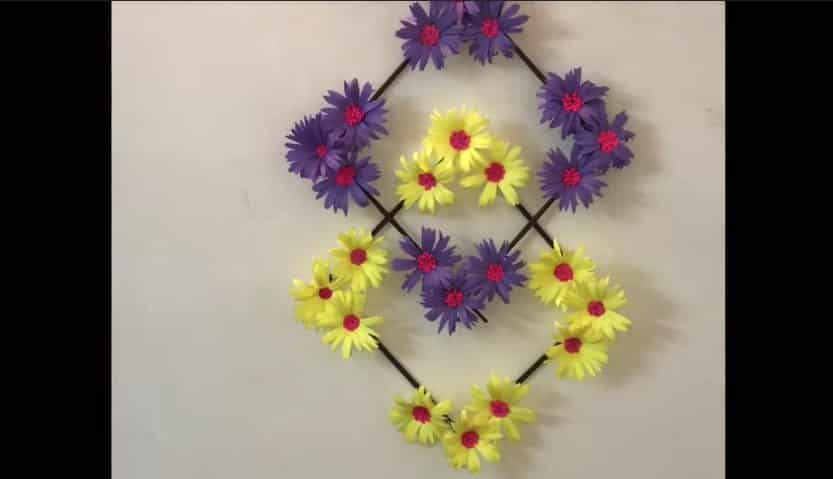 Paper Flower Wall Hanging Simple Craft Ideas